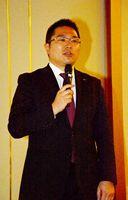 建設業界の働き方改革について具体的な方策を講演した日本コンサルタントグループの菅原政郎さん=佐賀市のグランデはがくれ