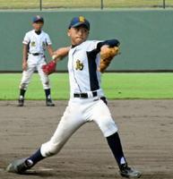 7回1安打無失点の好投の好投をみせた、鹿島少年主戦の山口大翔=佐賀市のみどりの森県営球場