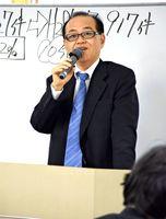 メンタルヘルスの観点から企業のリスク管理について説明した横山昌彦次長=佐賀市の東京海上日動火災保険佐賀支店
