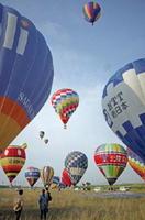 第27回佐賀市長杯・第28回若葉杯新人戦熱気球大会で離陸する熱気球=佐賀市の嘉瀬川河川敷