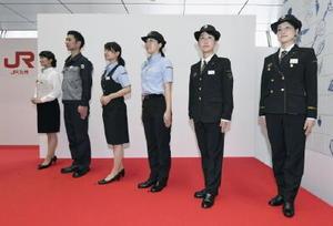 JR九州が発表した運転士や駅員などの新しい制服=5日午後、JR博多駅