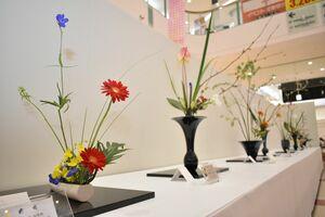 個性の光る作品が並ぶ花展=佐賀市兵庫北のゆめタウン佐賀