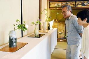 唐津焼作家が多数協力し、旧大島邸で開かれている五葉会の茶花展=唐津市南城内