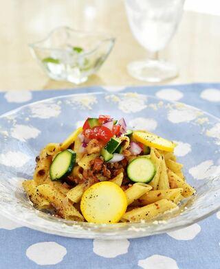 レシピ「夏野菜とナッツのミルクペンネ」