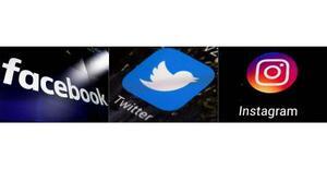 (左から)米フェイスブックとツイッター、インスタグラムのロゴ(AP=共同)