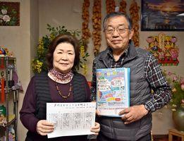 「芦刈よかとこ!」の歌詞を手掛けた谷口辰代さんと、まちづくりフォーラム会長の下村仁司さん