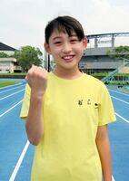 8月に二つの陸上大会で優勝を目指す楢田望乃さん=唐津市陸上競技場