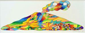 「さくらんじま」(ペンと水彩、縦16センチ×横41センチ)