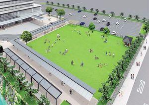 唐津市役所新庁舎東側の広場のイメージ(唐津市提供)
