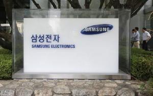 サムスン電子の社名が書かれた表示=7月、韓国ソウル(AP=共同)
