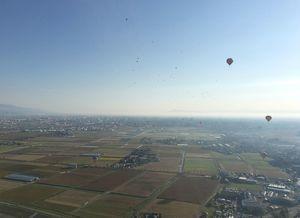 バルーンから眺めた佐賀平野。パシフィックカップのバルーン佐賀市街地方面へ向かうパシフィックカップのバルーン