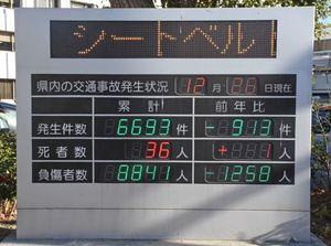 佐賀県内の交通事故発生状況を示す電光掲示板=昨年12月26日、佐賀市の県警本部