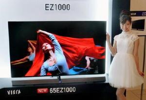 パナソニックが発売する有機ELテレビの主力モデル=10日、大阪市