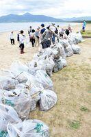 ゆめさが大学同窓生らが清掃して集まった東の浜のごみ=唐津市の東の浜海浜公園