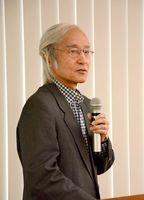 AIの可能性について講演した新井康平佐賀大学名誉教授=佐賀市役所
