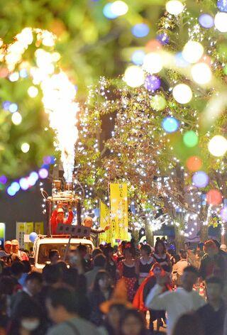 サガ・ライトファンタジー点灯 光と炎、街を彩る バルーンフェスタ、31日開幕
