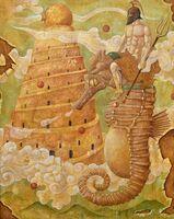 牛丸和人教授が寄贈した洋画「雲の生まれる日」(F100)