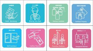 県が作成した、感染防止対策を表現したピクトグラムの一部