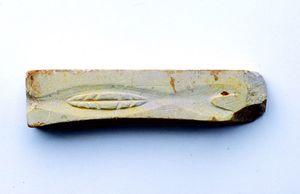 魚の形が彫られているが器種不明の前田遺跡の鋳型