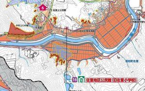 相知町佐里地区一帯の防災マップ。最大で10メートル未満の浸水を想定する箇所もみられる