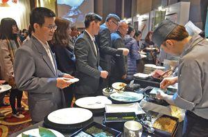 県産食材を提供したPRレセプション=台北市のホテル(県提供)