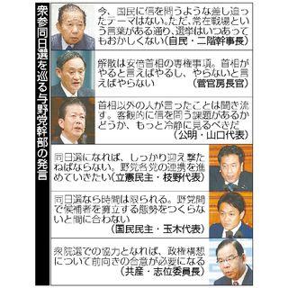 くすぶる衆参同日選 首相の判断、与野党注視