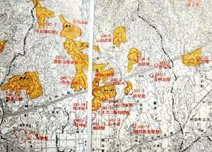 三養基郡みやき町綾部にあったとされる綾部城を中心とした九州探題府関連史跡=調査報告書から