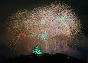 夏の夜空を彩る大輪の花火。下は唐津城=15日夜、唐津市
