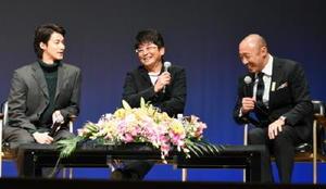 「真田丸」の撮影裏話や印象深いシーンを話す(左から)白石隼也さん、哀川翔さん、武田幸三さん=神埼市中央公民館