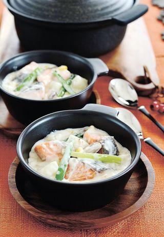 レシピ「鮭(サケ)と長芋の米粉チャウダー」
