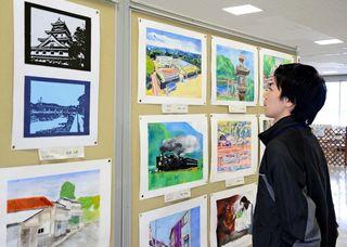 水彩や彫刻、個性豊か 中学校美術部作品展に162点