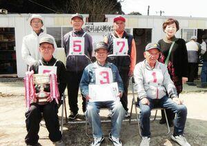 第55回谷口眼科杯ゲートボール大会で優勝した宮野東チーム