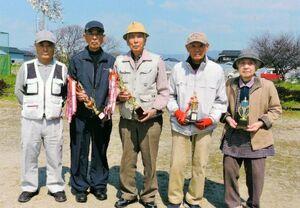 兵庫町老人長生会東部二愛好会3月度大会の上位入賞者