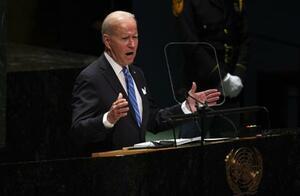 21日、国連総会で演説するバイデン米大統領=ニューヨーク(ゲッティ=共同)