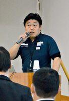 競技者の栄養面でのサポートを紹介した味の素スポーツチーム長の田中和幸さん=佐賀市の県スポーツ会館