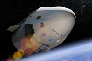 月旅行で2人が搭乗する予定の「ドラゴン2宇宙船」の想像図(スペースX提供=共同)