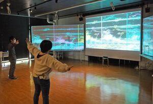 その場の音や動きを映像に投影する作品=佐賀市本庄町の佐賀大
