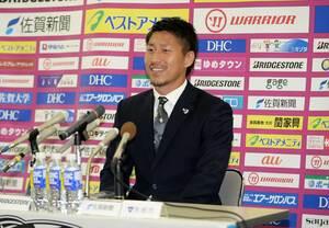 サッカー日本代表に初招集され、会見で抱負を語るサガン鳥栖のFW豊田陽平選手=鳥栖市のベストアメニティスタジアム