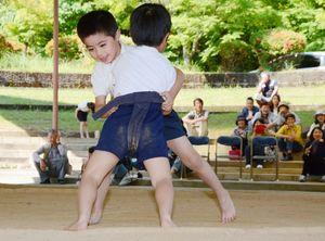 力いっぱい相撲をとる有田小の児童たち=有田町泉山の白磁ヶ丘相撲場