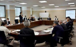 幹事会では、SSP構想の中期目標などが示された=県庁