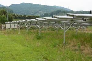 耕作放棄地に設置された太陽光発電設備。パネルの下で原木シイタケの栽培を計画している=小城市小城町