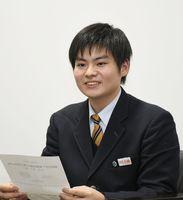 新委員長に就任した佐藤雄貴さん(佐賀清和高2年)=佐賀市兵庫北の佐賀清和高