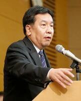 共同通信加盟社編集局長会議で講演する立憲民主党の枝野代表=1日午後、東京都港区