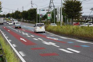 県内主要道、カラー舗装で事故4割減