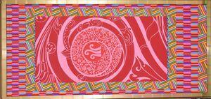 矢羽根など和柄と中東風のモチーフを組み合わせたタペストリー