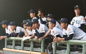 戦況を見守る佐賀工高の選手たち=佐賀市のみどりの森県営球場