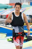 男子RSX級 レースを終えた富沢慎=江の島ヨットハーバー