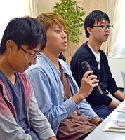 初めて裁判を公聴した感想を語る学生=佐賀市の佐賀地方・家庭裁判所