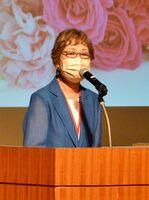 設立25周年を迎え記念講演会を開いた特定非営利活動法人「女性参画研究会・さが」の山﨑和子理事長=佐賀市のアバンセ