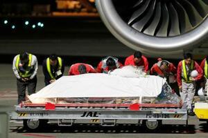 成田空港に到着した、アフガニスタン東部で殺害された医師中村哲さんの遺体が納められたひつぎ=8日午後5時43分
